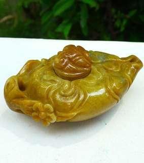 缅甸天然翡翠玉A货黄翡茶壶摆件