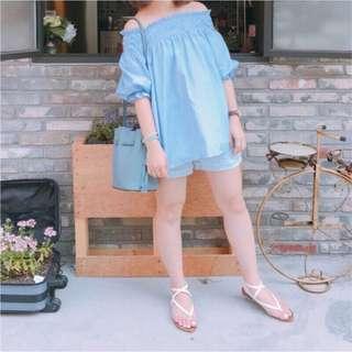【9成新】平口 鬆緊 條紋 上衣 洋裝 freesize