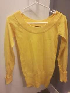 Yellow off shoulder shirt