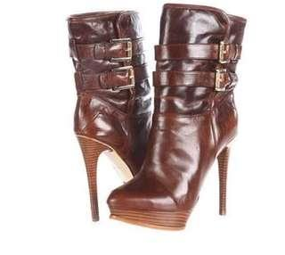 Michael Kors - Brown Leather Buckle Ankle Boots
