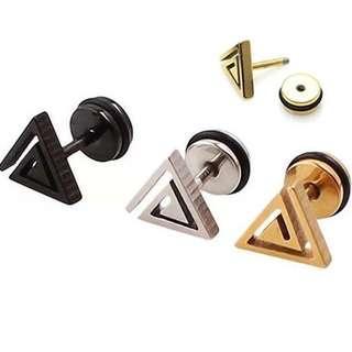三角鎖式鋼耳環