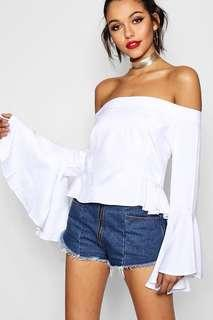 Woven Bardot Flare sleeve top (available in sky blue)