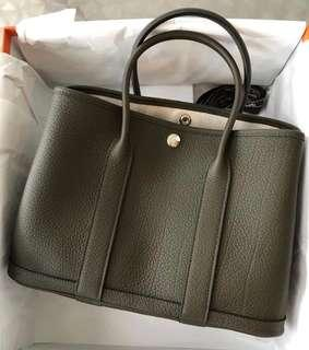 💎💯Authentic HERMÈS GARDEN PARTY 30 VERT BRONZE NEGONDA💎