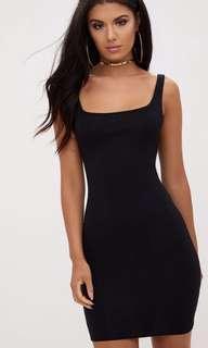 Black square cut body-con dress