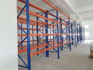 Heavy duty racking loading  3000 kg  BLUE VERTICAL SIDE STRUCTURE HEIGHT  4500MM SALE $180/ PER PIECE ORANGE BEAMS SALE $35/