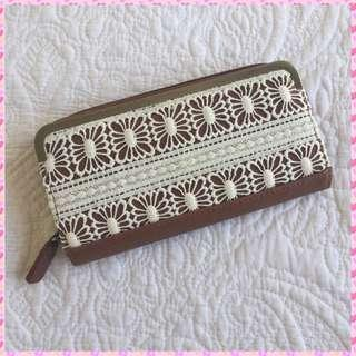 Brown Wallet with White Crotchet Detailing