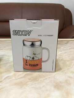 🚚 史努比 小日子陶瓷蓋杯(橘色)