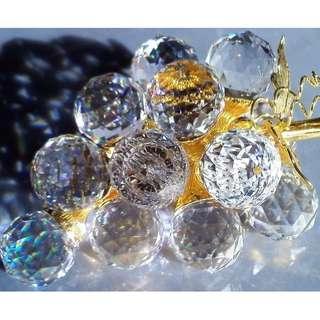 SWAROVSKI SILVER CRYSTAL - SMALL GRAPES 15 (GOLD LEAVES & GOLD STEM) – 7550 200 015