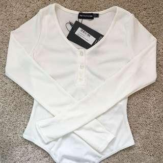 White Long Sleeve Ribbed Button Bodysuit