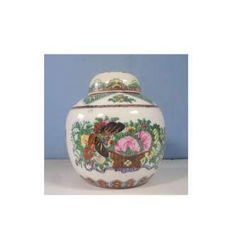 Vintage Chinese Canton export porcelain famille rose ginger jar circa 1950s