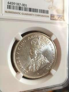 Straits settlement 1 dollar silver coin NGC ms 63
