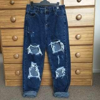 Dark Blue Boyfriend Jeans