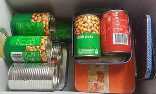 Tin cans and boxes