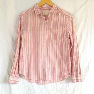 Kemeja panjang garis strip stripes pink