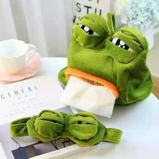 可愛蛙面紙盒及眼罩束髮帶 有需要哪款請PO款示給我 賴lucky2200(小培) FB:南部雜貨舖