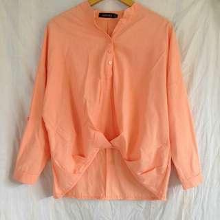 Blouse peach orange oversize panjan