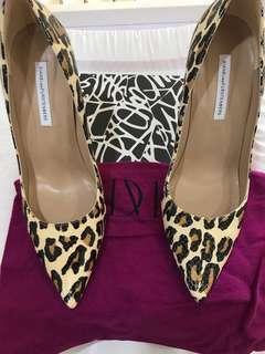 Diane von furstenburg animal print leather heels sz 10