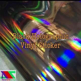 Black holographic vinyl sticker wrap