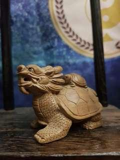 Peach Wood Carving- Dragon Turtle ( Mother & Son )