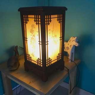 Vintage Wooden Oriental Table Lamp