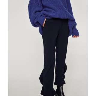 Zara navy ruffle trousers