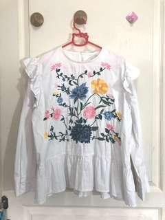 BKK Shirt Blouse With Embroidered Flower