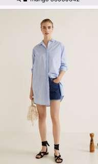 MANGO L. BLUE LONGLINE SHIRT /SHIRT DRESS SIZE 6 OVERSIZED