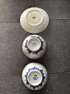 免費送出-景德鎮青花米通加彩瓷碗兩隻+界牌瓷碟一隻