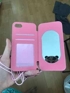 Pink magnetic flap with mirror iPhone 7 case