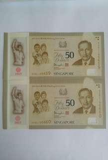 SG50 $50 Commemorative Polymer Notes × 2pcs