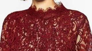 Zara Maroon lace top