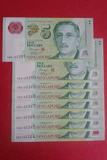 SG $5 Polymer Notes × 8 pcs run nos.