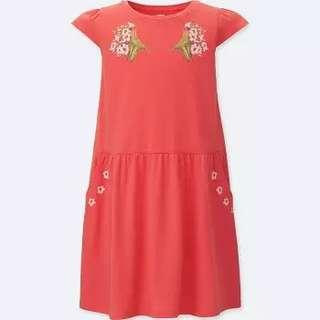 #CNYGA 🆕Uniqlo Girls Red Dress Short Sleeve with Pockets size 140
