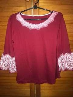 Red flare sleeve detailed lace TOP blouse