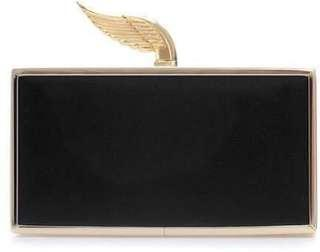Zara Black Gold Wing Clutch with Golden Removable Slinky Strap Cocktail Party Purse Formal Evening Bag