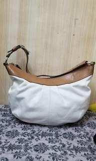 coach pleated leather cream hobo shoulder bag