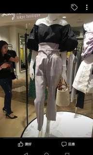 Lily Brown 復古粉紅色格紋長喇叭褲