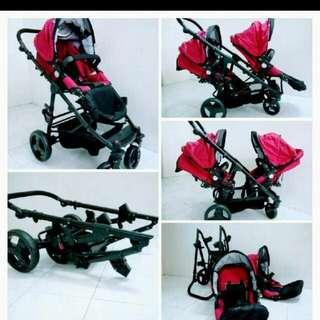 Perreno double seat stroller