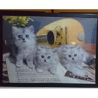 Framed Jigsaw Puzzle Cats Music Score Guitar