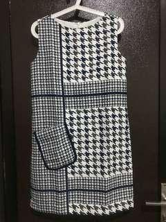 Blue houndstooth dress