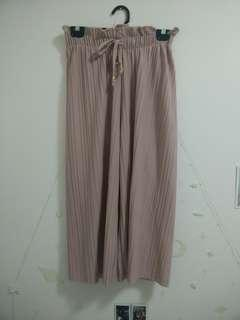 Pink Pleated Bucket Waist Culottes