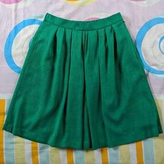 Green Flare Pleated Skirt