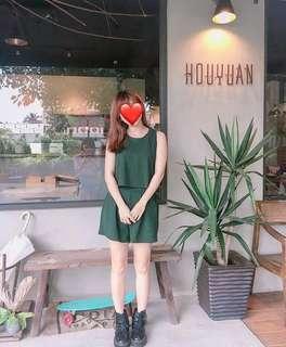 韓版綠色休閒套裝