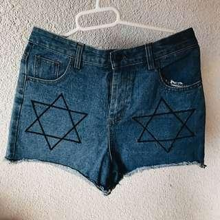 high waisted denim blue shorts