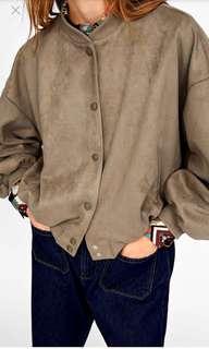New Zara Suede Bomber Jacket