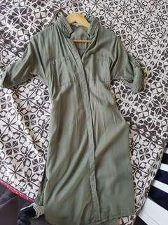 Khaki green long shirt dress