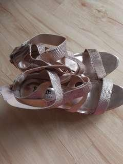 Rose Gold Wedge shoes high