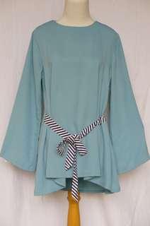 Baju Atasan Dotdtails Original Elegan Lengan Panjang Tunik Biru Toska