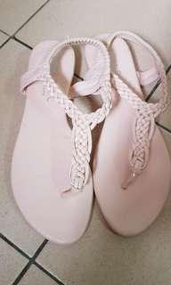 Baby pink strappy sandals