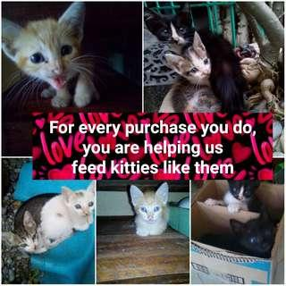 FOR EVERY PURCHASE YOU DO, YOU HELP US FEED KITTENS LIKE THEM